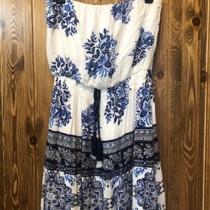 Strapless dress sundress blue white spring summer